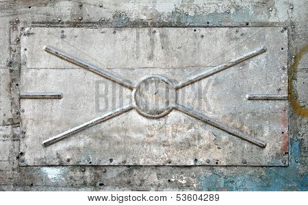 Closeup Texture Of An Old Alloy Panel With Stiffeners