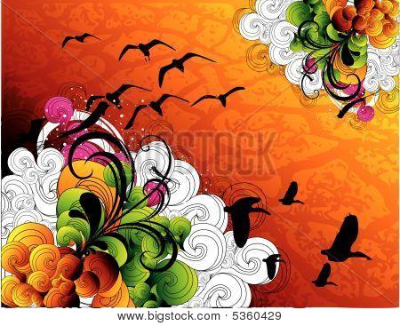 Floral Color Vector Composition