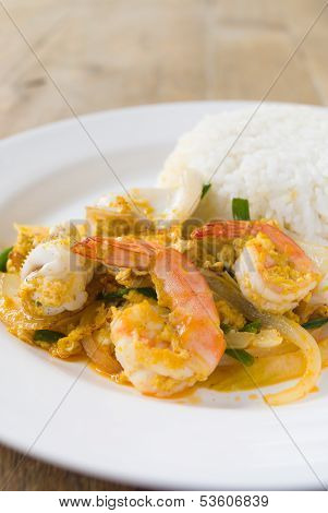 The Fried Curry Shrimp Thai Food