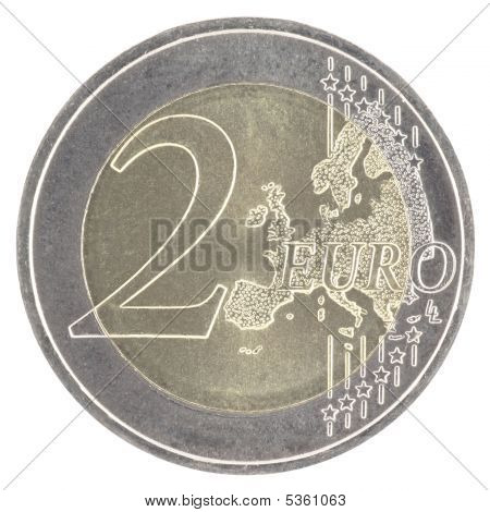 Uncirculated 2 euro with new map isolated in white poster