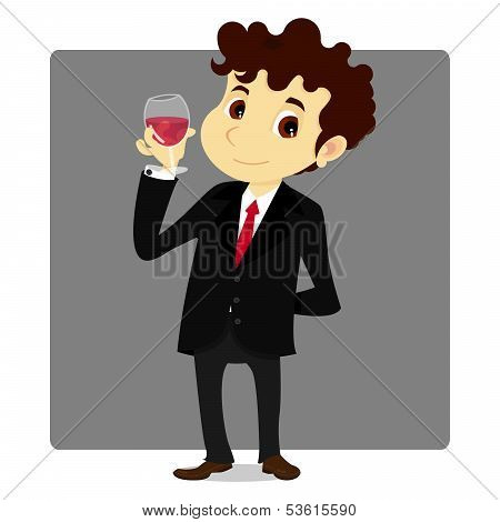Business Man With Wine Glass