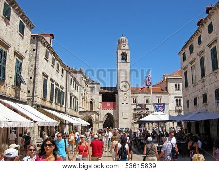 Tourists On Stradun Street In Dubrovnik, Croatia
