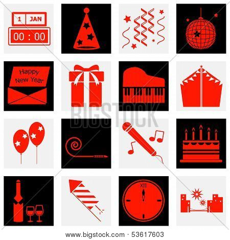 New Year Red Color Icons
