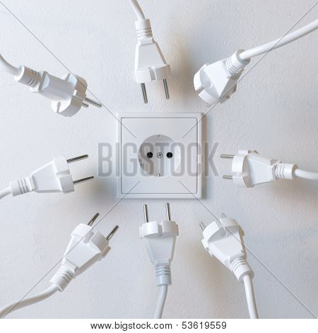 Many Electric Plugs are Fighting for Power from the Wall Socket Version 2