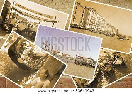 Collage Retro Postkarte, Gondel Service With Gondolier At Pier