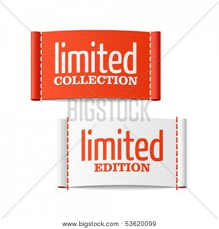 Limited collection and edition clothing labels. Vector.