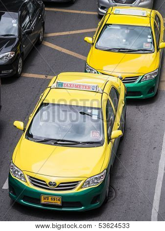 Thai Taxi Cab On The Road