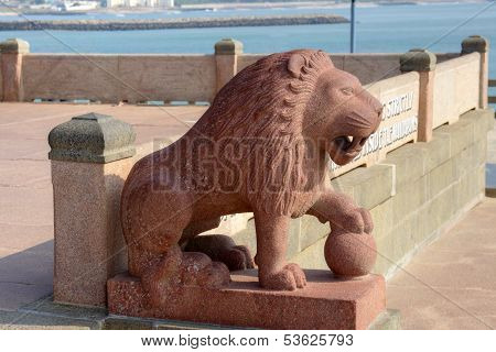 Lion statue. Swami Vivekananda memorial. Kanyakumari, Tamilnadu, India.