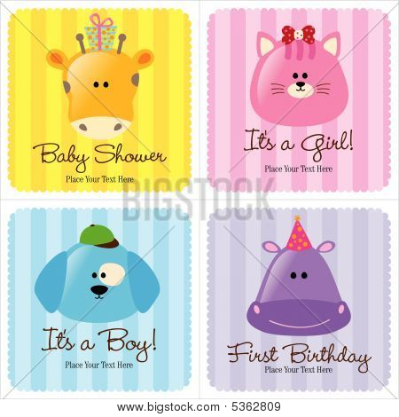 Assorted Baby Cards Set 3 (1- baby shower, 2-birth announcements, 1- first birthday) poster