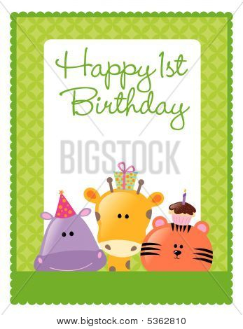Illustration of animals on 8.5x11 birthday flyer poster