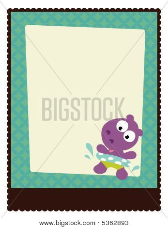 8.5x11 Flyer Poster Template Vector with hippo poster
