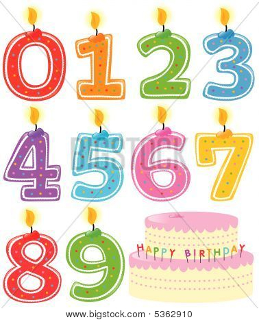 Numbered Birthday Candles and Cake Isolated Vector poster