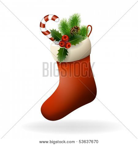 Red Christmas sock with holly berries, candy and fir branch. Xmas greeting card. Vector eps10 illustration poster