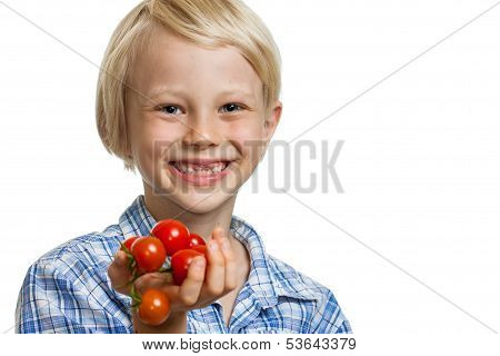 Cute Boy Holding Bunch Of Tomatoes