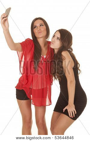 Two Women Take Picture Of Selves Kiss Face