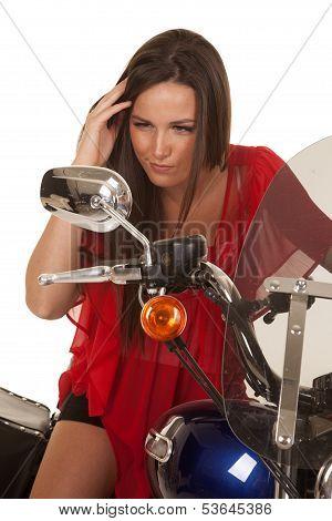 Woman Red Top Motorcycle Look Mirror