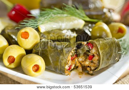 Grape Leaves Stuffed With Rice.