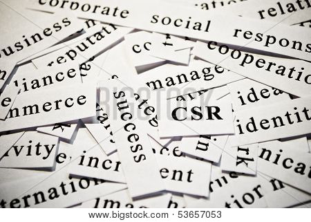 CSR or corporate social responsibility. Concept of words related with business poster