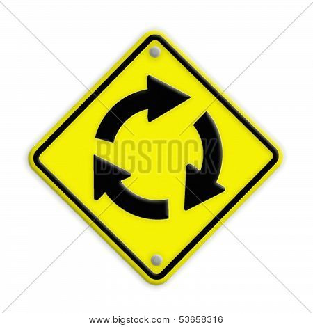 Grunge Traffic Circle Arrow Sign , Part Of A Series.