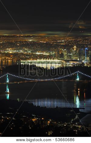 Vancouver, Lions Gate Bridge, High Angle Night, vertical