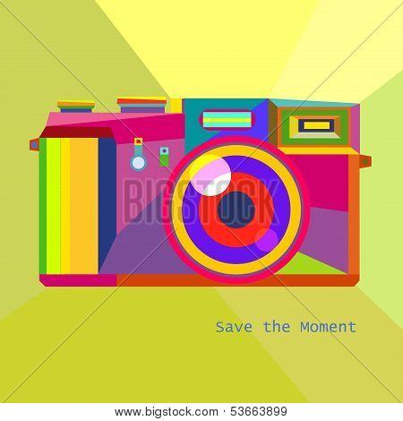 Photo Camera Retro geometric Hipster style trendy colors art technology concept in vector