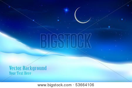 illustration of snowy night landscape