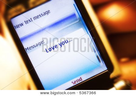 Sms Message On Mobile Phone Close-up