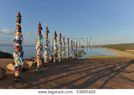 Buryat Traditional Pagan Holy Poles By Lake Baikal