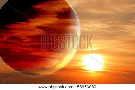 Fantastic sunset in alien planet
