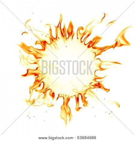 Corona sun. Fire flames isolated on white background.