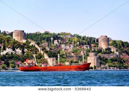 Castle And Ship On Bosporus