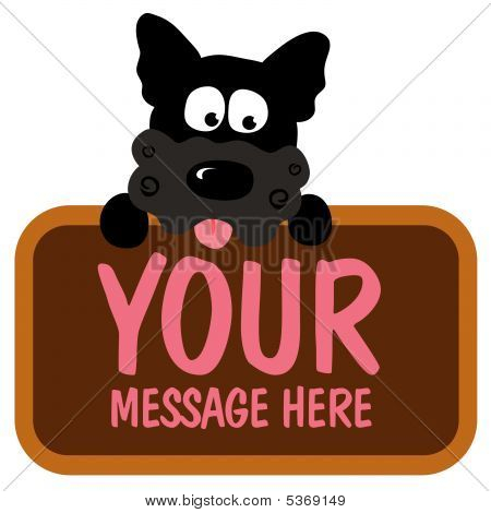 Vector of an isolated dog holding sign poster