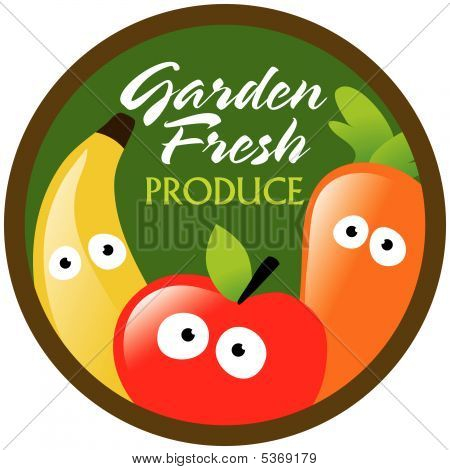 Garden Fresh Produce label/sticker Vector