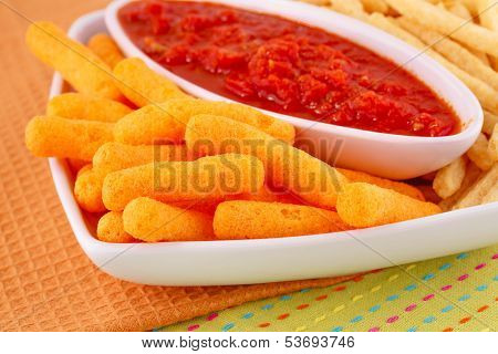 Potato, Corn Chips And Red Sauce