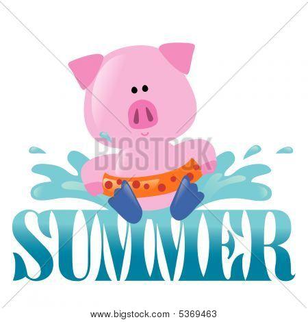 poster of Summer Splash Graphic 2 Vector with pig splashing