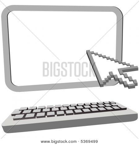 Arrow Cursor Click On 3D Computer Monitor Keyboard
