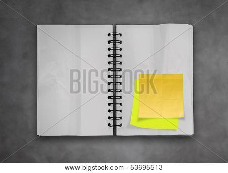 Sticky Notes With Open Blank Note Book On Deak Top Texture