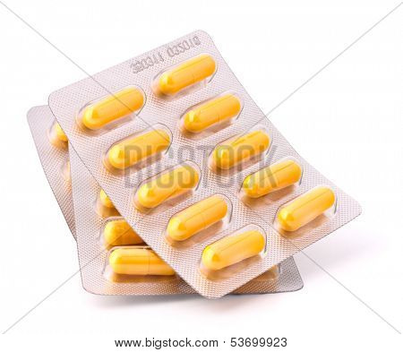Medicament caplet blister isolated on white background cutout