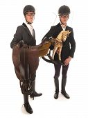 two handsome young men with horses outfit and a rocking horse poster