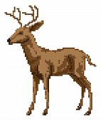 A pixel art style deer illustration of a buck or stag poster