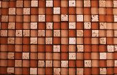 Mix stone and glass mosaic in brown and beige colors poster