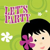 Illustration of Party Invitation Vector with Girl poster
