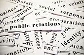 Public relations. Concept of words related with business poster
