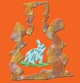 Rabbit in a trap. Rabbit silhouette on brown background. poster