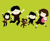 Illustration of Family and Dog Jumping Vector poster