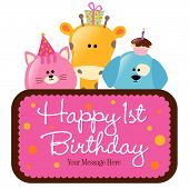 Isolated baby animals with first birthday sign vector poster