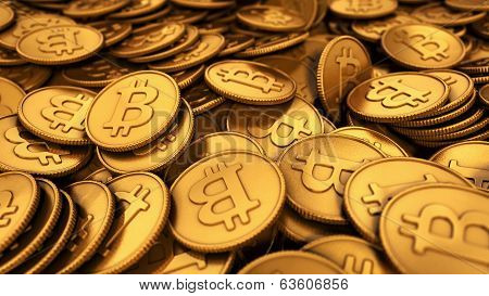 3D Illustration Of A Large Group Of Golden Bitcoins