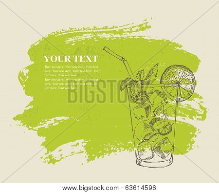 Mojito with mint and lime on green background