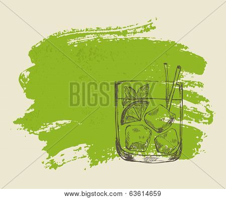 Iced tropical cocktail with mint on green background