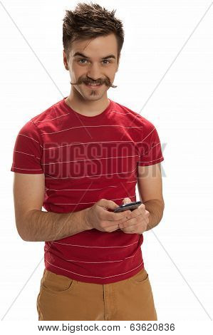 Hipster On A Cell Phone